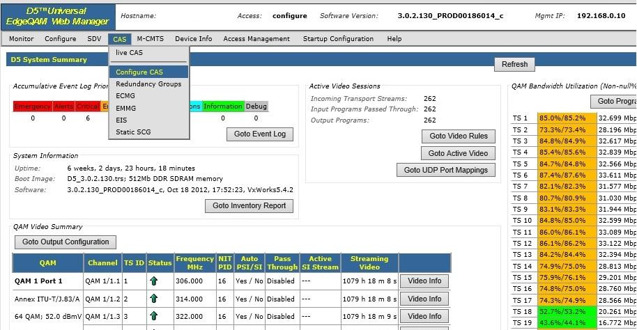 d5 configure cas - Arris D5 QAM Scrambling Configuration