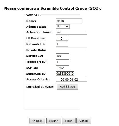 scg details for service - Arris D5 QAM Scrambling Configuration