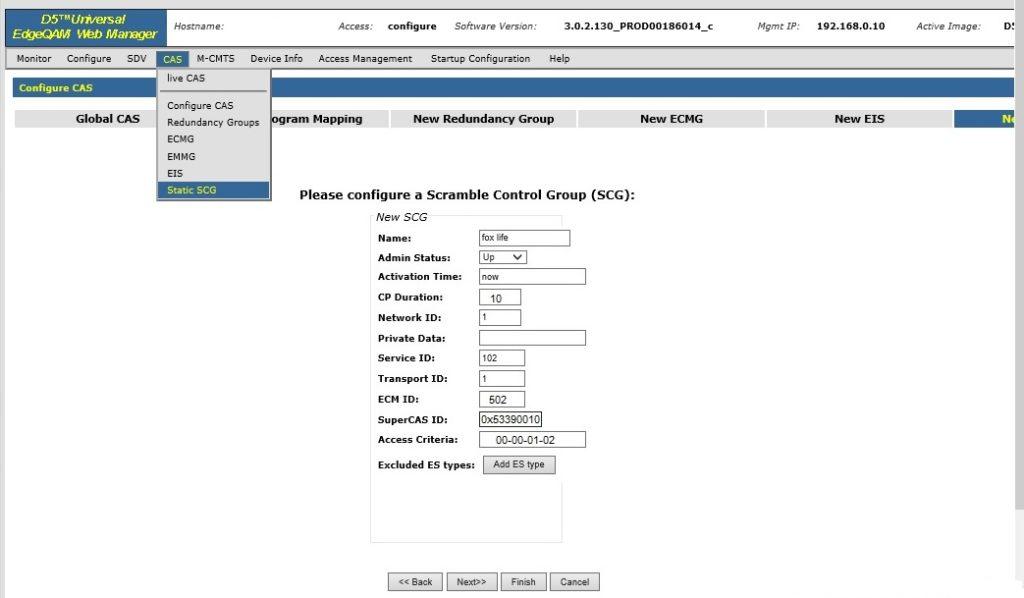 static scg for d5 - Arris D5 QAM Scrambling Configuration