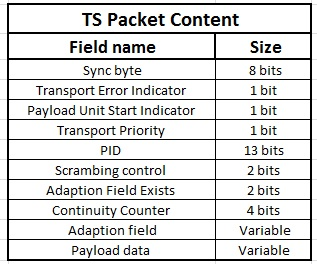 ts packets data